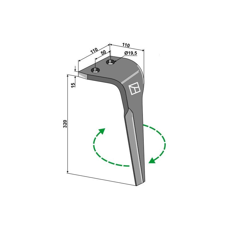 Dent pour herses rotatives, modèle droit - Maletti - E030146