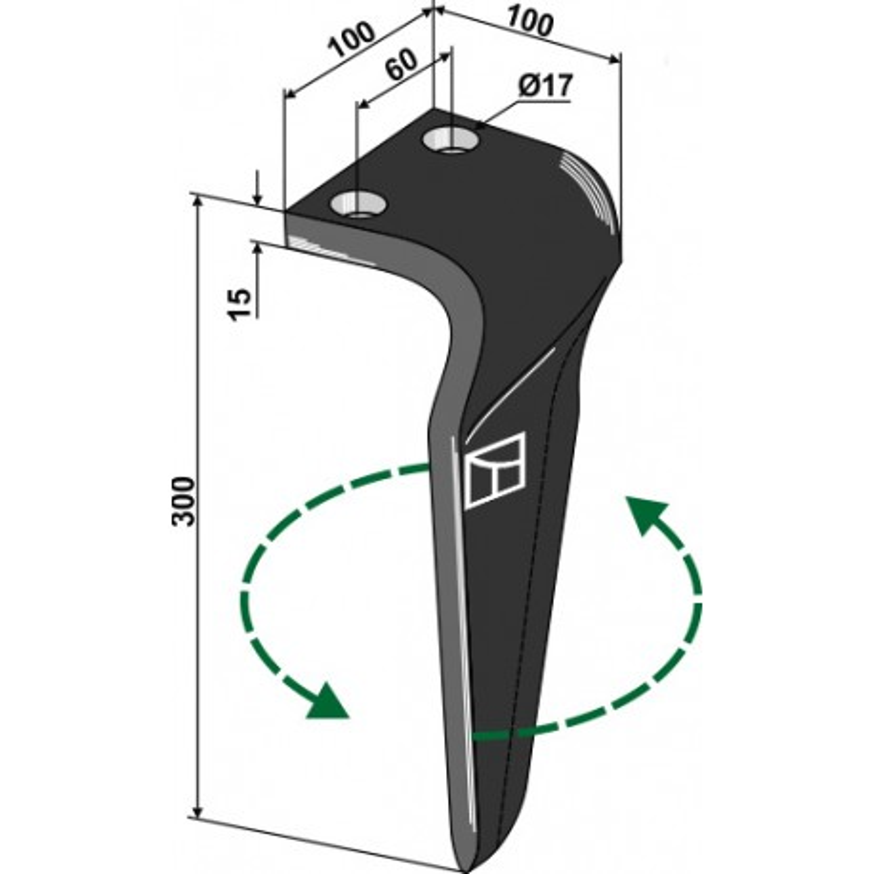 Dent pour herses rotatives, modèle gauche - Maschio / Gaspardo - 36100216