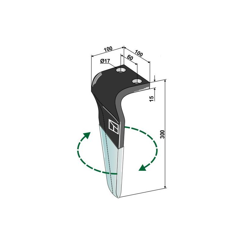 Dent pour herses rotatives (DURAFACE) - modèle droit - Maschio / Gaspardo - M36100215RMPC