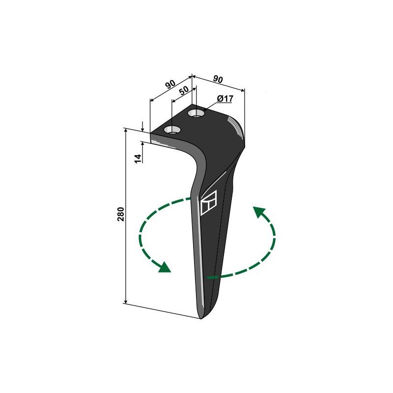 Dent pour herses rotatives, modèle gauche - Maschio / Gaspardo - 38100223
