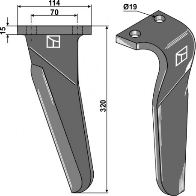 Dent pour herses rotatives, modèle gauche - Maschio / Gaspardo - 61100213 (Alt) - 6110230 (Neu)