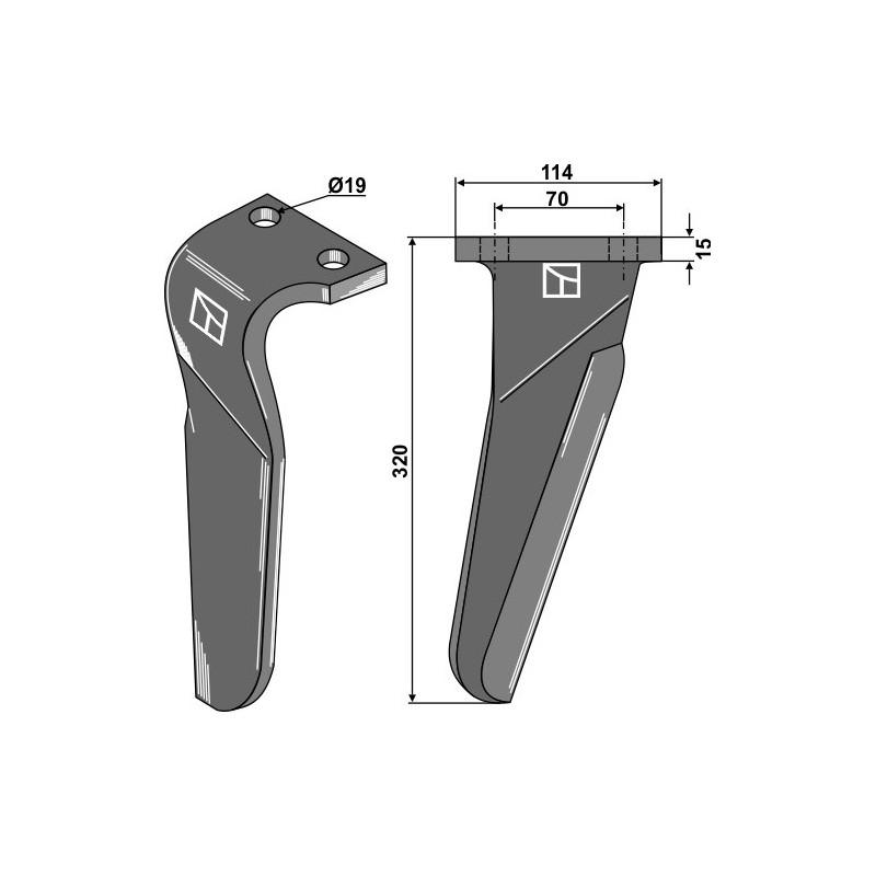 Dent pour herses rotatives, modèle droit - Maschio / Gaspardo - 61100212 (Alt) - 6110229 (Neu)