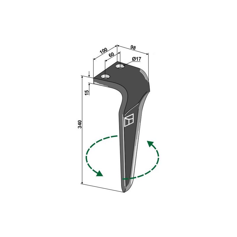 Dent pour herses rotatives, modèle gauche - AG000132