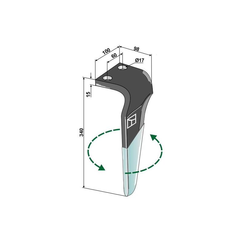 Dent pour herses rotatives (DURAFACE) - modèle gauche