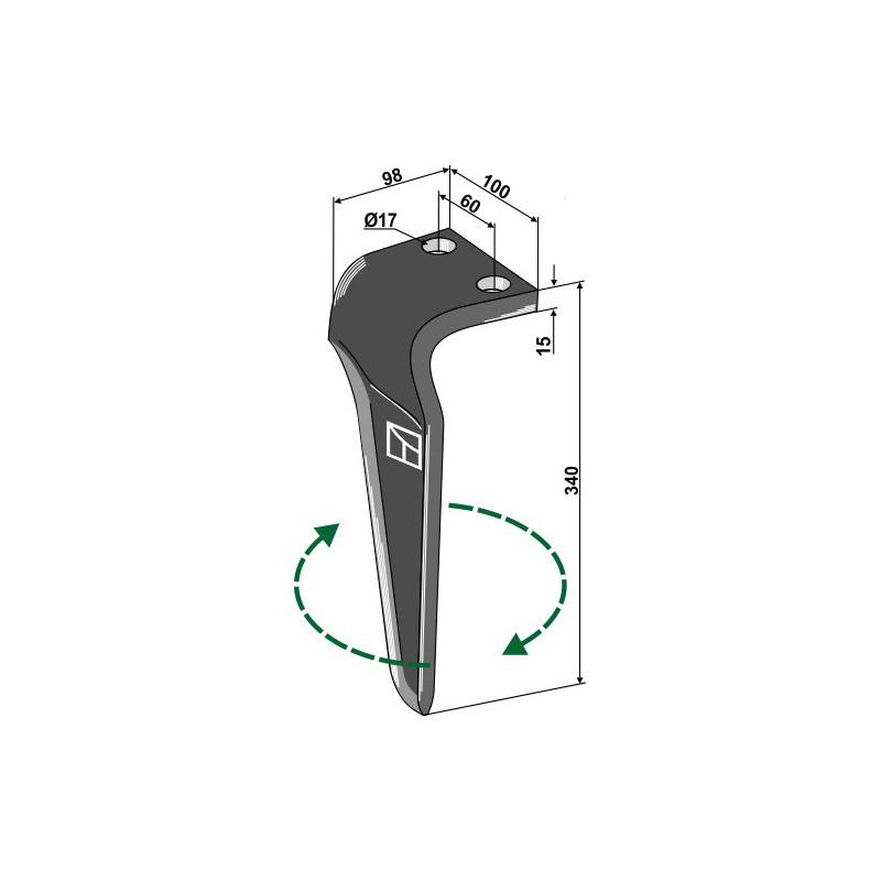 Dent pour herses rotatives, modèle droit - AG000130