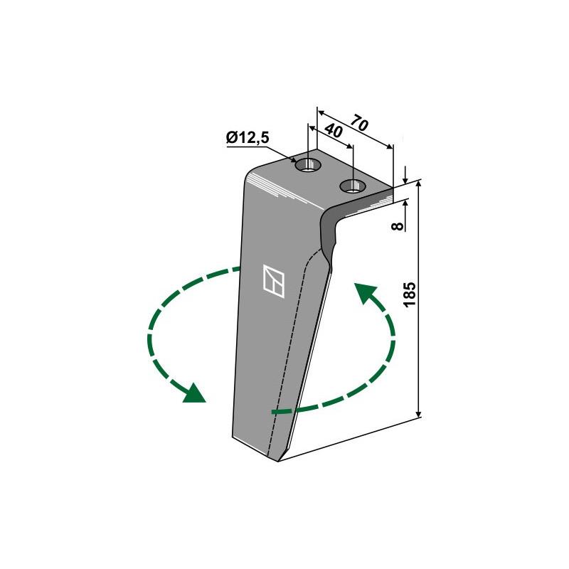 Dent pour herses rotatives, modèle gauche - Agromec - 5000.03.0320