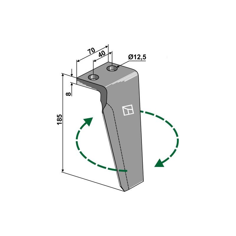 Dent pour herses rotatives, modèle droit - Agromec - 5000.03.0330