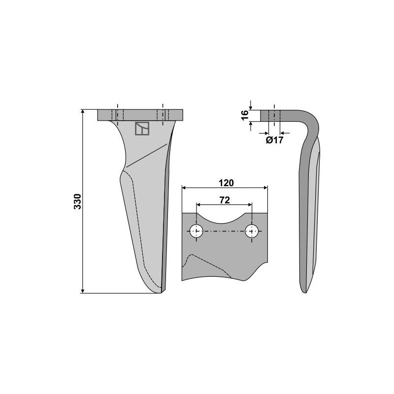 Dent pour herses rotatives, modèle gauche - Niemeyer - 034825