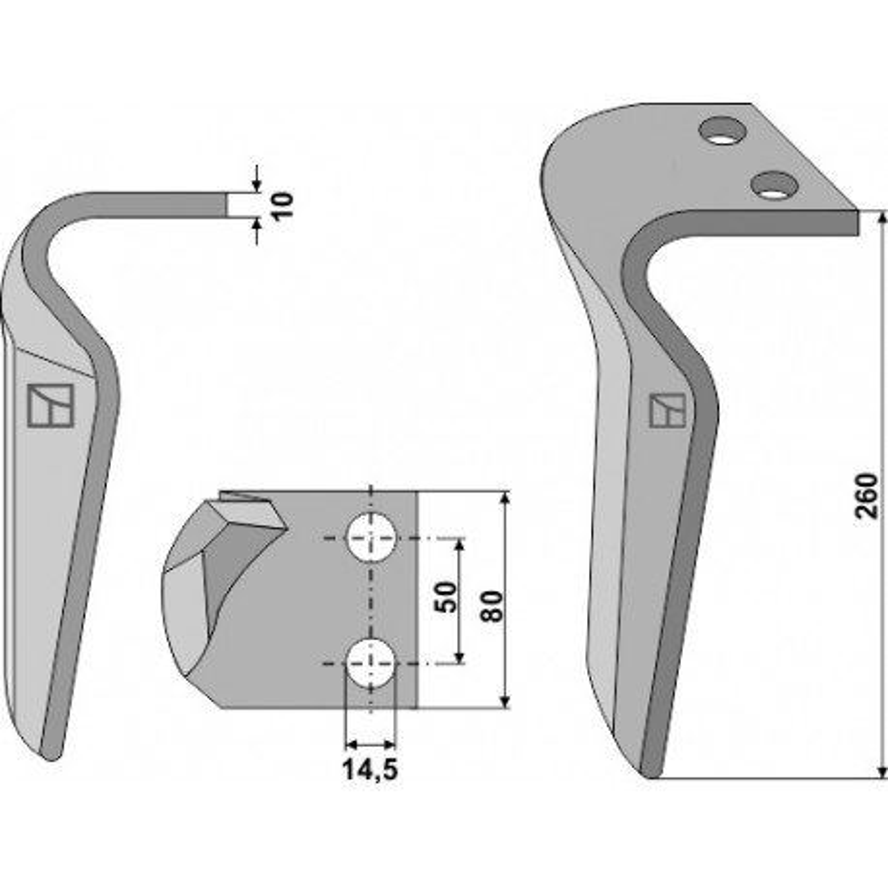 Dent pour herses rotatives, modèle droit - AG000123