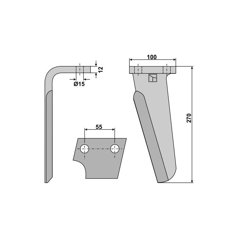 Dent pour herses rotatives, modèle gauche - AG000122
