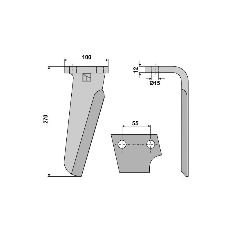 Dent pour herses rotatives, modèle droit - AG000121