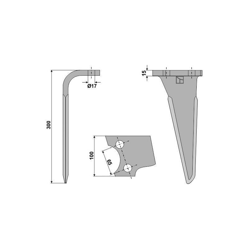 Dent pour herses rotatives, modèle gauche - AG000118