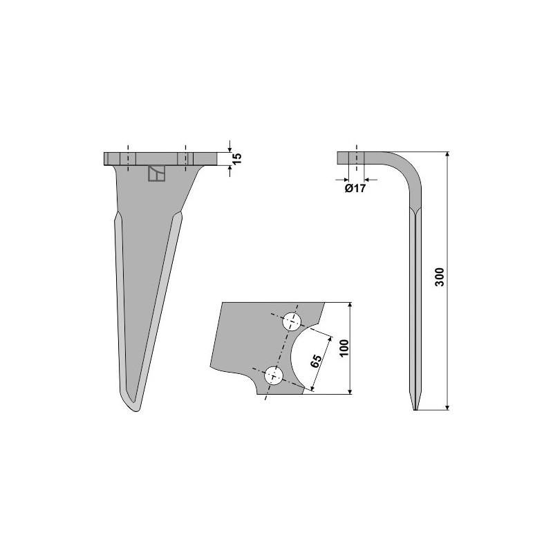 Dent pour herses rotatives, modèle droit - AG000117