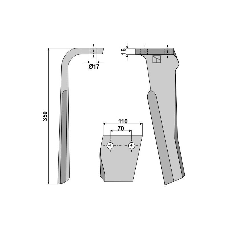 Dent pour herses rotatives, modèle gauche - Rabe - 8432.24.02