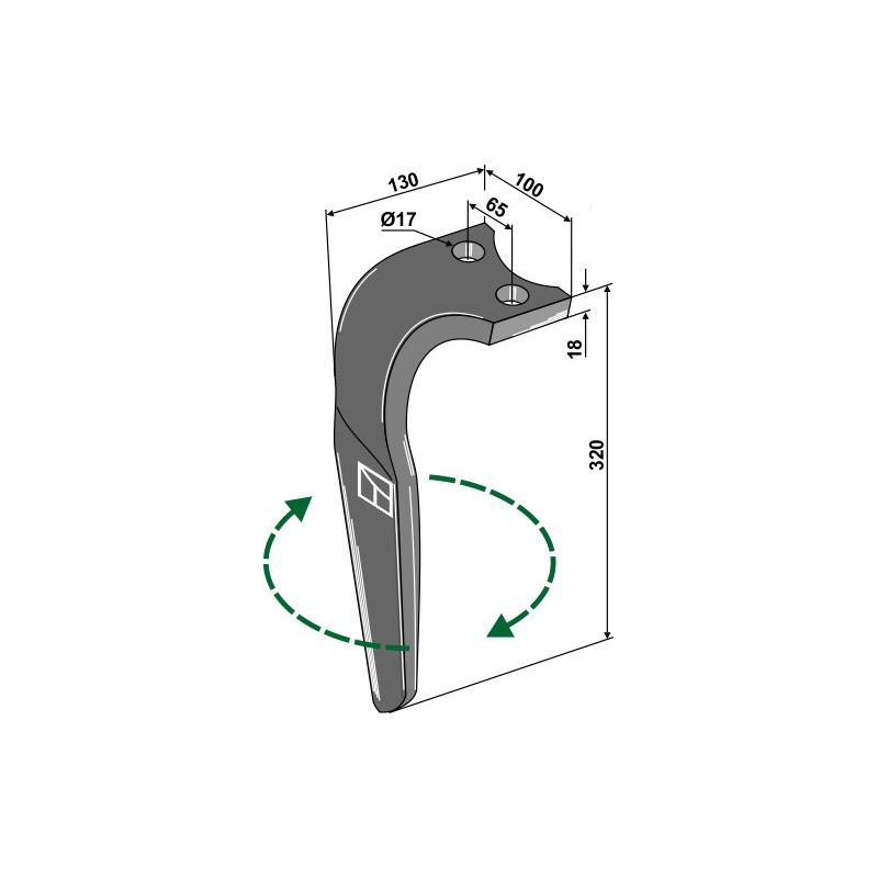 Dent pour herses rotatives, modèle droit - Rabe - 8423.18.01