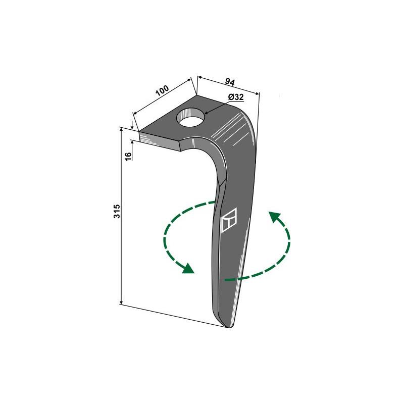 Dent pour herses rotatives, modèle gauche - Rabe - 8437.77.02