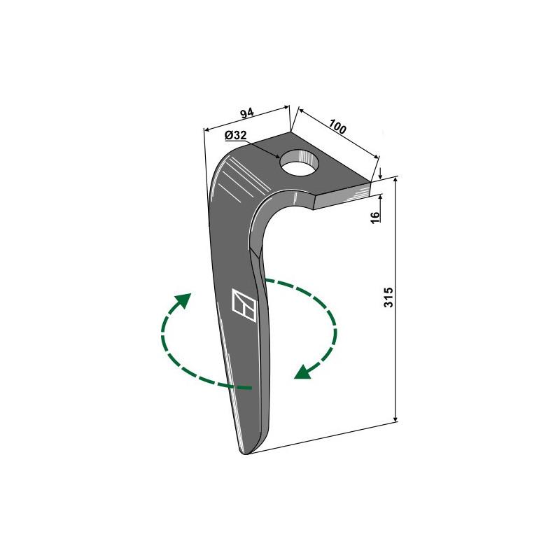 Dent pour herses rotatives, modèle droit - Rabe - 8437.77.01
