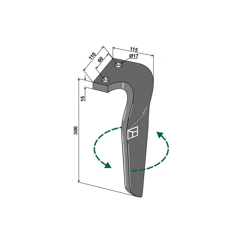 Dent pour herses rotatives, modèle gauche - Rau - RG00058897