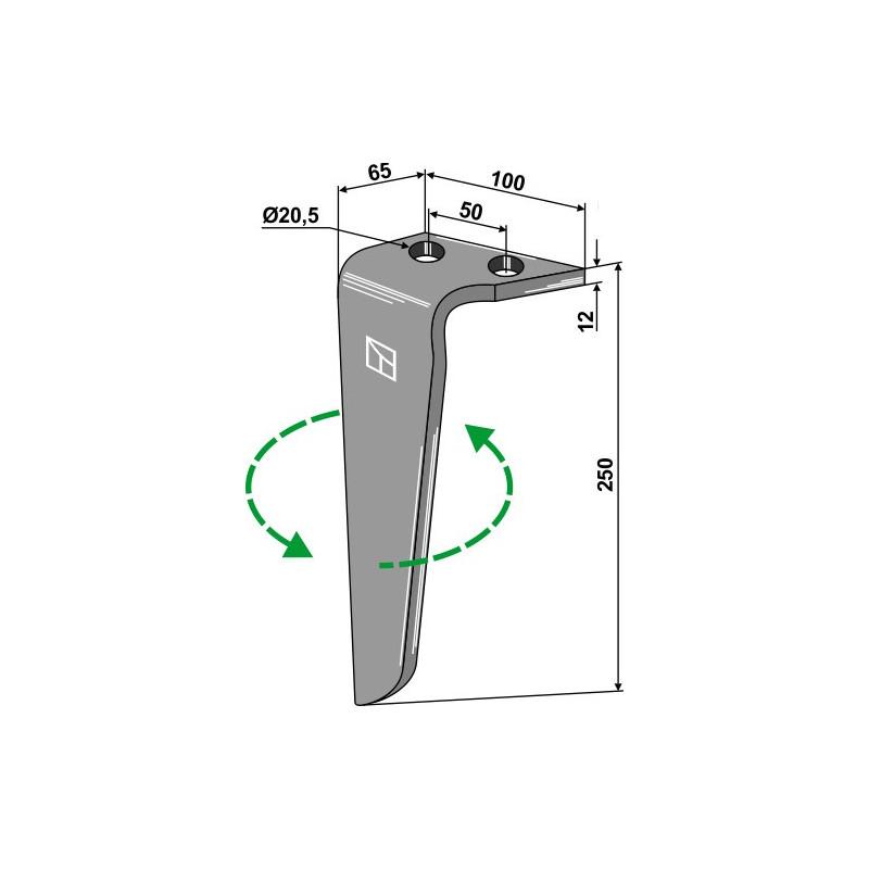 Dent pour herses rotatives, modèle gauche - Rinieri - 05636LH