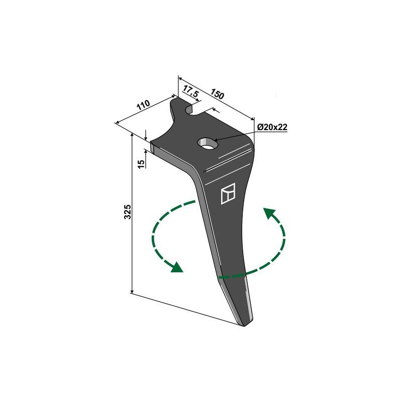 Dent pour herses rotatives, modèle gauche - Vogel u. Noot - KZ200002