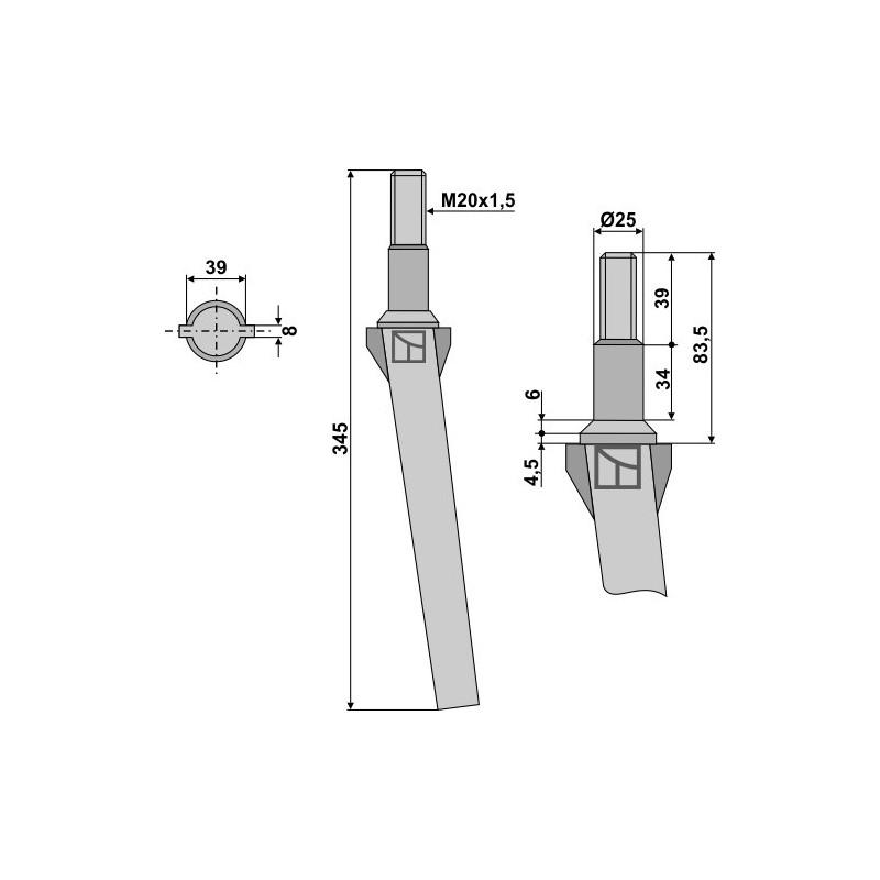 Dent pour herses rotatives - Forigo-Roteritalia - RL013101