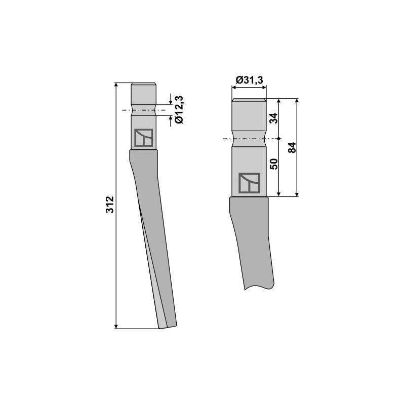 Dent pour herses rotatives - Feraboli - 7A46026