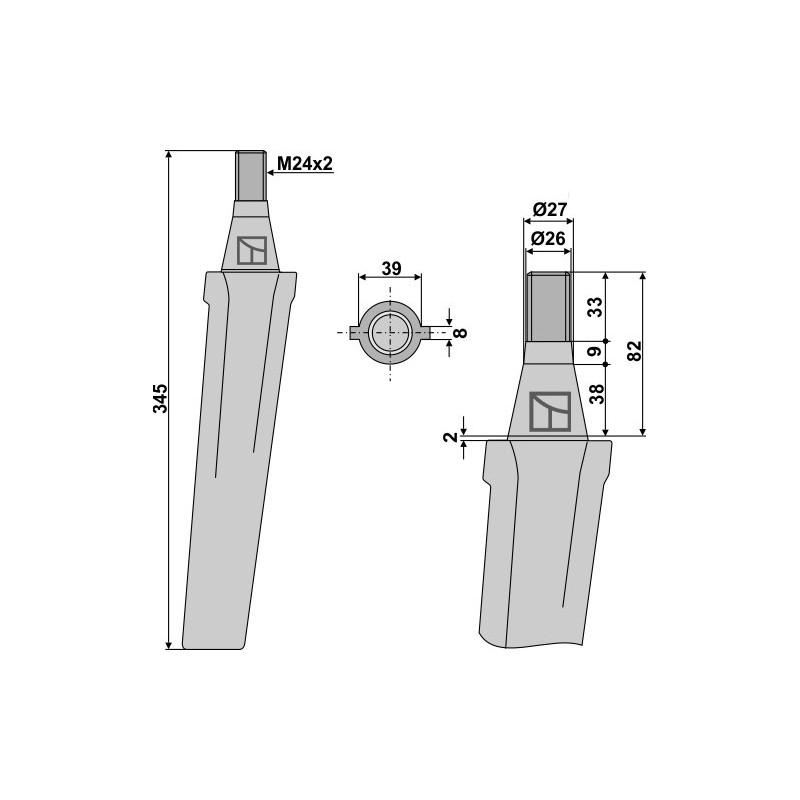 Dent pour herses rotatives - Vigolo - 500001