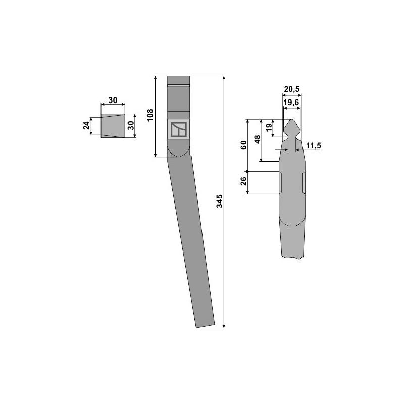 Dent pour herses rotatives - Landsberg - 053800