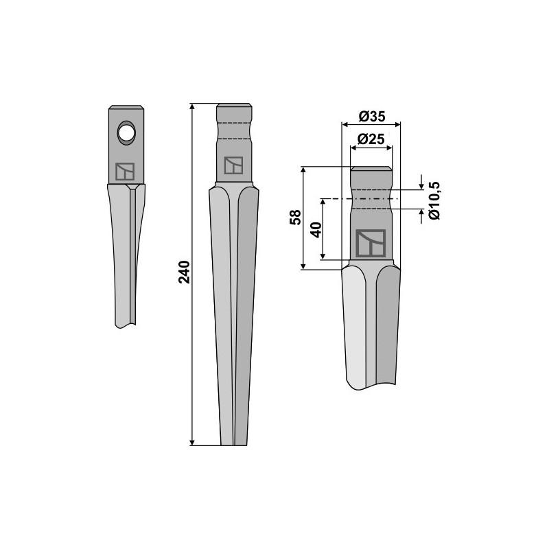 Dent pour herses rotatives - Pegoraro - 1205101