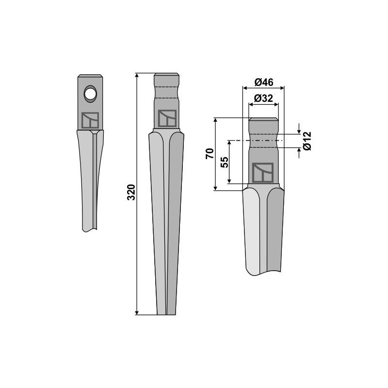 Dent pour herses rotatives - Pegoraro - 001430-01