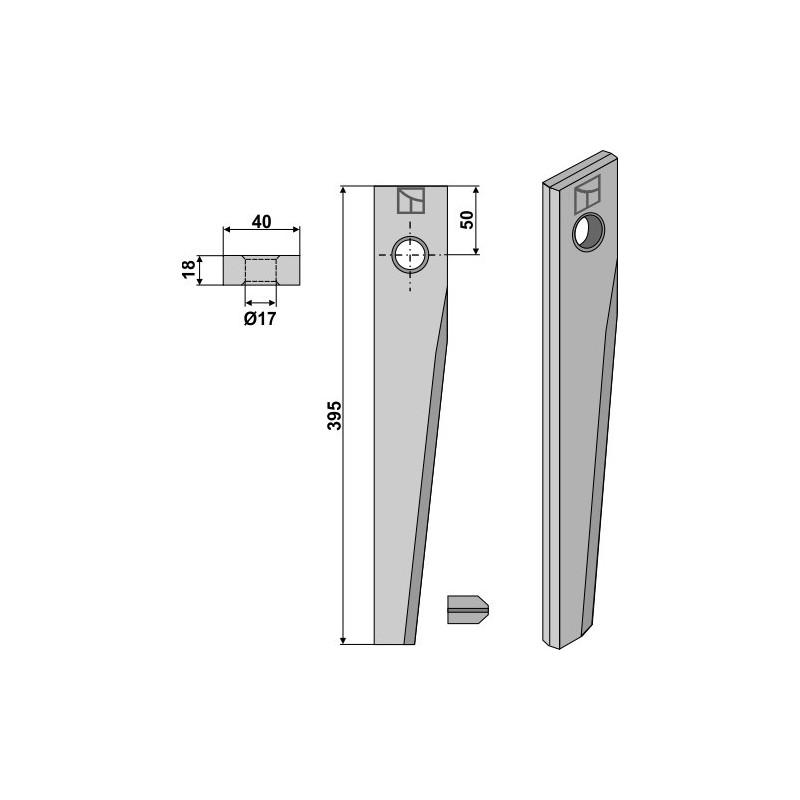 Dent pour herses rotatives pour Serie HR 1000 - Kuhn - 52510600