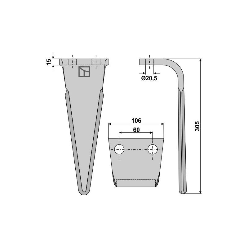 Dent pour herses rotatives - Feraboli - 7A48011