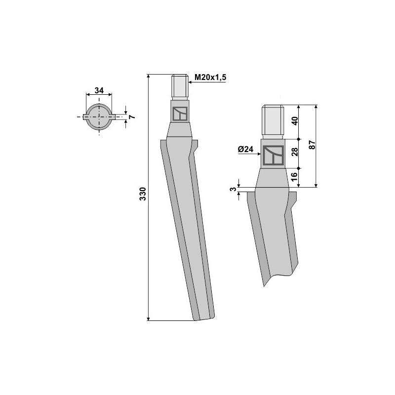 Dent pour herses rotatives - AG000016