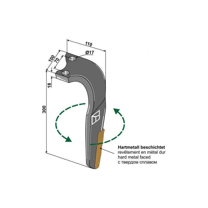 Dent pour herses rotatives, revêtement en métal dur, modèle gauche - Rabe - 8411.62.08 - 8411.62.09