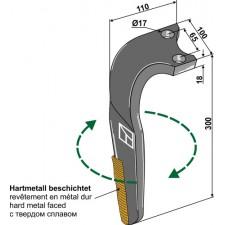 Dent pour herses rotatives, revêtement en métal dur, modèle droit - Rabe - 8411.62.07