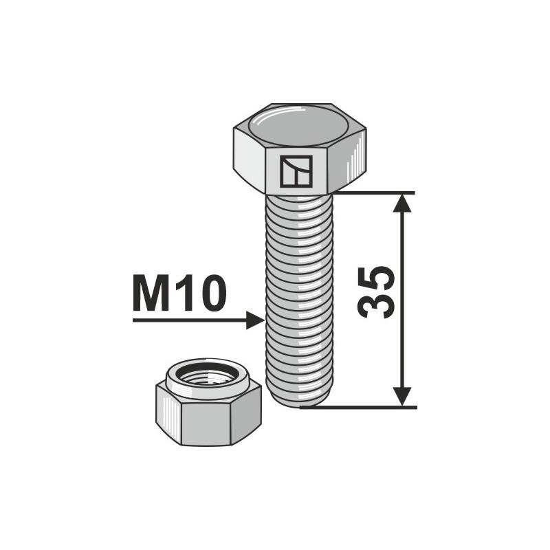 Boulon avec écrou à freinage interne - M10x1x35 - 10.9