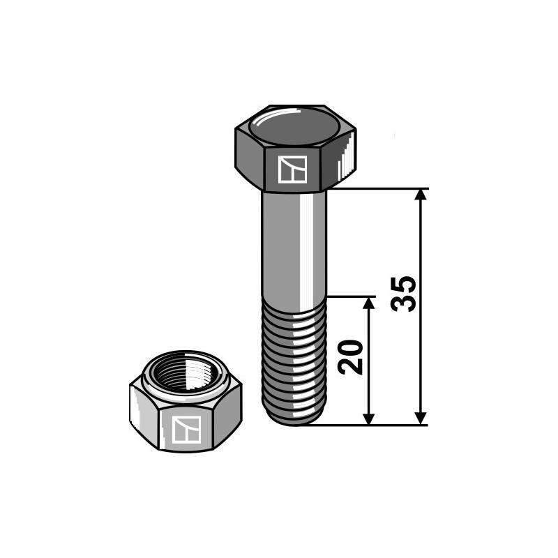 Boulon avec écrou à freinage interne - M12x1,25x35 - 12.9