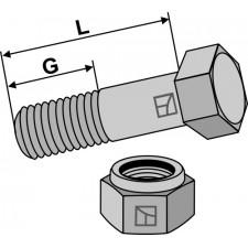 Boulon avec écrou à freinage interne - M12x1,25X45 - 12.9
