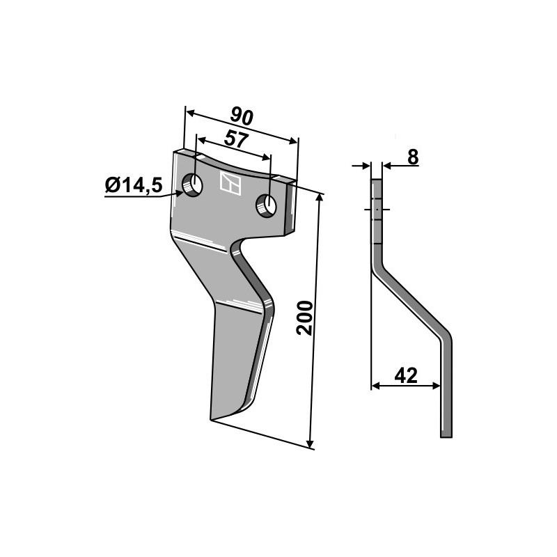 Dent rotative - modèle droit - AG000734