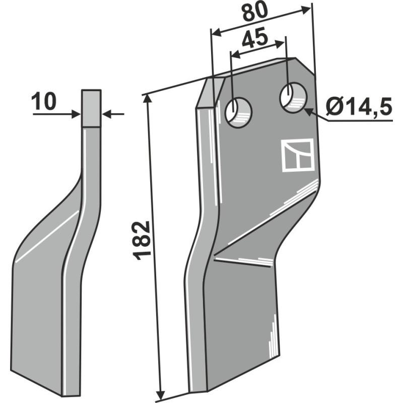 Dent rotative - modèle droit - AG000726