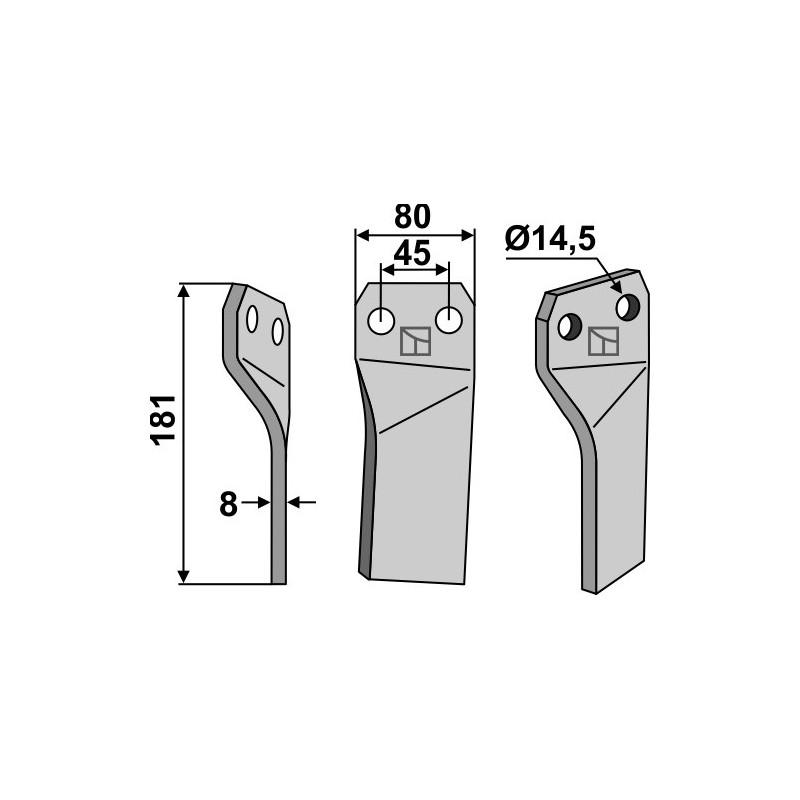 Dent rotative, modèle gauche - Maschio / Gaspardo - 26100418