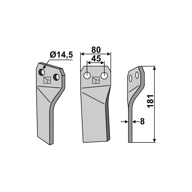 Dent rotative, modèle droit - Maschio / Gaspardo - 26100417
