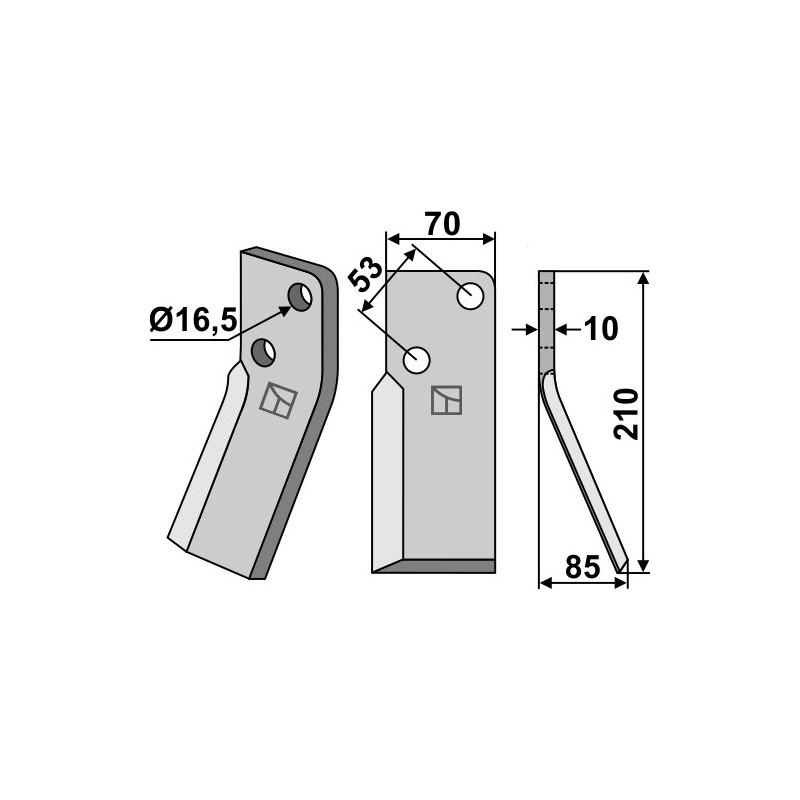 Dent rotative, modèle droit - AG000680