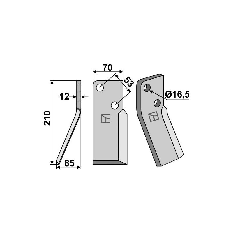 Dent rotative, modèle gauche - AG000679