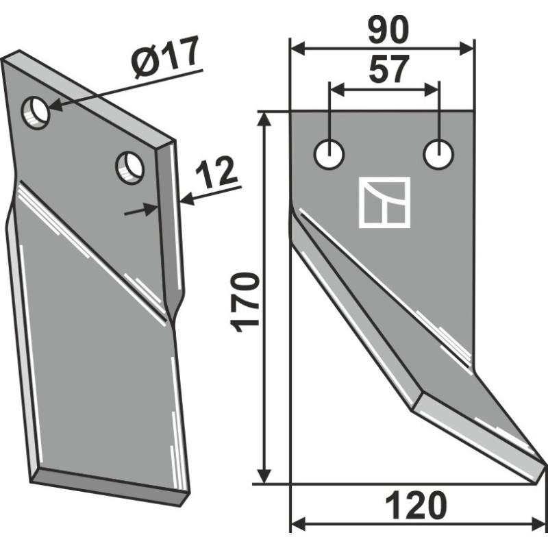 Dent rotative, modèle droit - AG000676