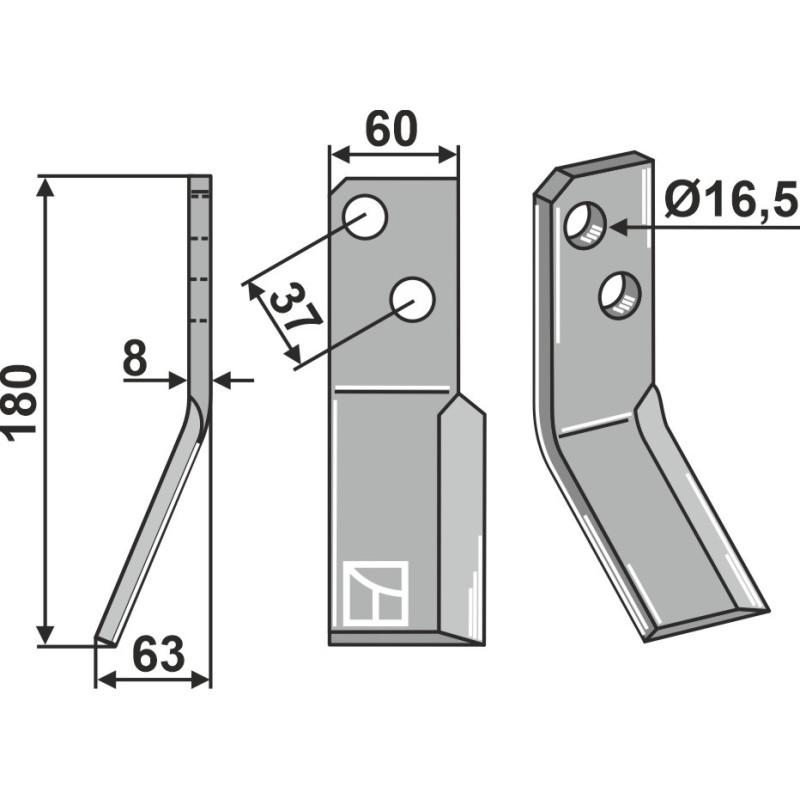 Dent rotative, modèle gauche - AG000675
