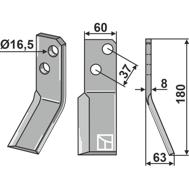 Dent rotative, modèle droit - AG000674