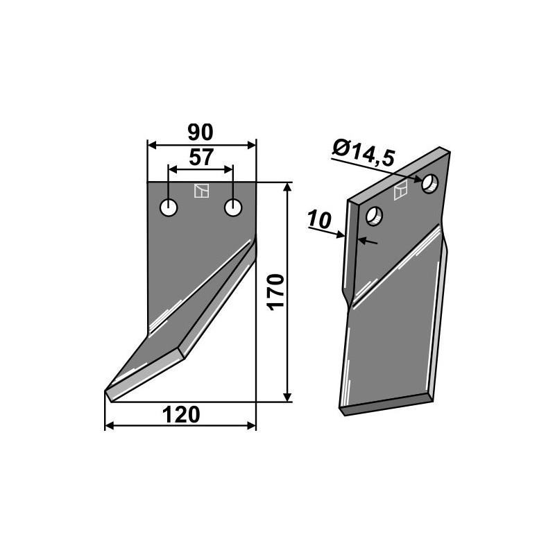Dent rotative, modèle gauche - AG000673