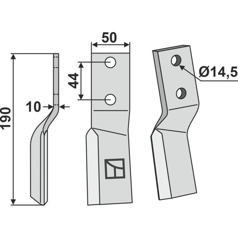 Dent rotative, modèle gauche - AG000655
