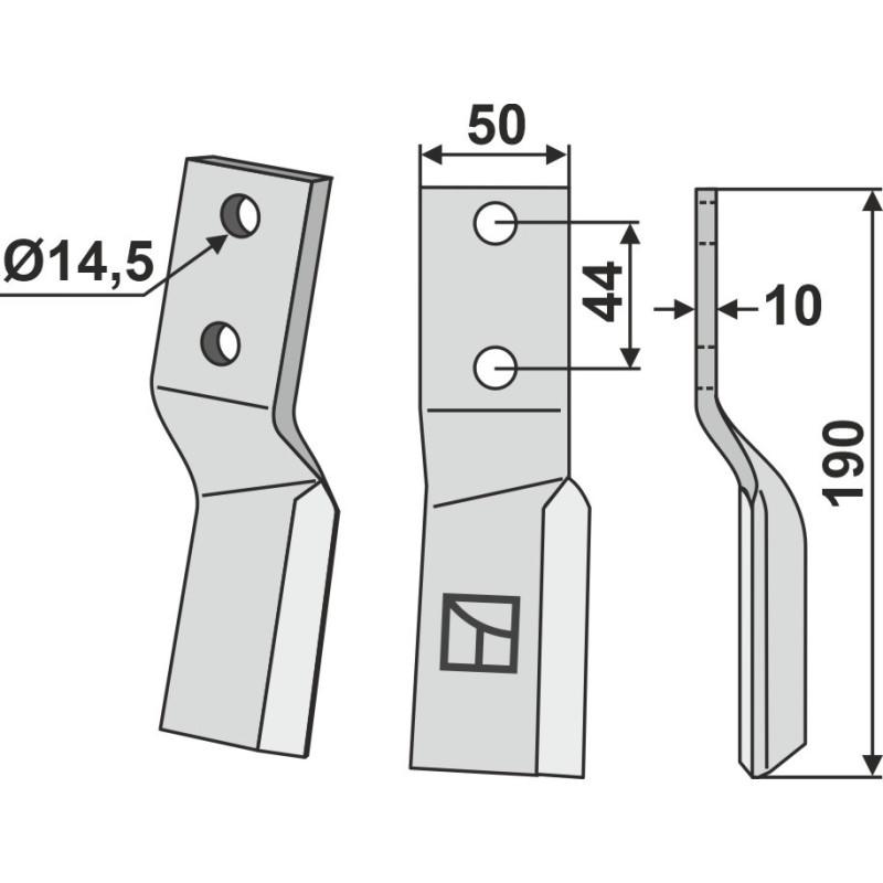 Dent rotative, modèle droit - AG000654